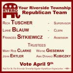 Riverside Township political lawn sign designed by Alejandro Dowling