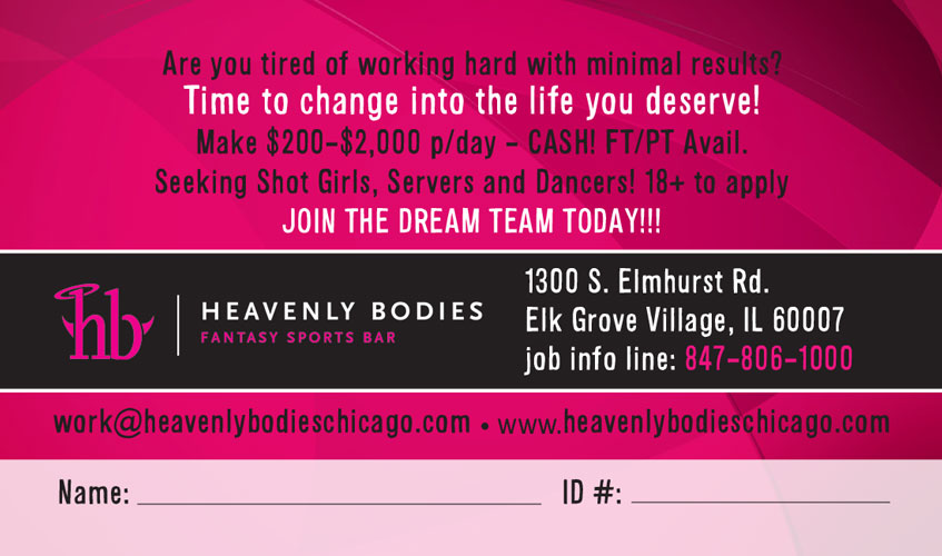 Heavenly Bodies Business Card (back)